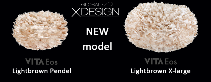 Nya fjäderlampan Eos Lightbrown finns i två storlekar Pendel med diameter 45 cm och X-large med diametern 75 cm.